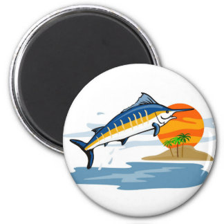 blue marlin jumping with island and sun refrigerator magnet