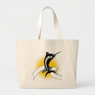 blue marlin jumping with sunburst and scroll tote bags