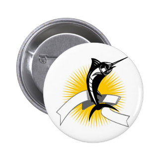 blue marlin jumping with sunburst and scroll 2 inch round button