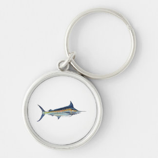Blue Marlin keyring Silver-Colored Round Keychain