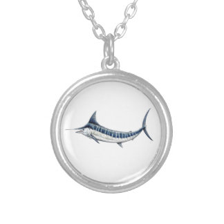 Blue Marlin Silver Plated Necklace