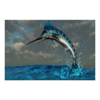 Blue Marlin Splash Print