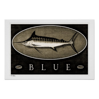 Blue Marlin Vintage B&W Posters, Prints and Frames