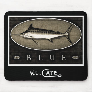 Blue Marlin Vintage Black White Mouse Pads