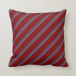[ Thumbnail: Blue & Maroon Colored Stripes Pattern Throw Pillow ]
