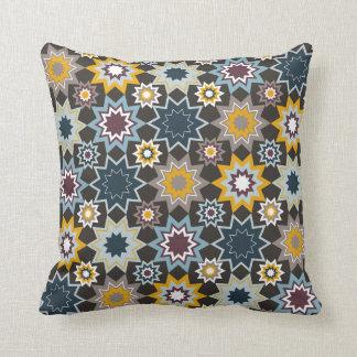 Blue Marrakesh Moroccan Stars Art Pattern Cushion