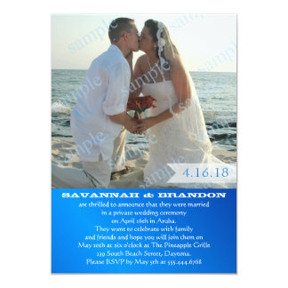 Blue Marriage Reception Only Wedding Photo Invite