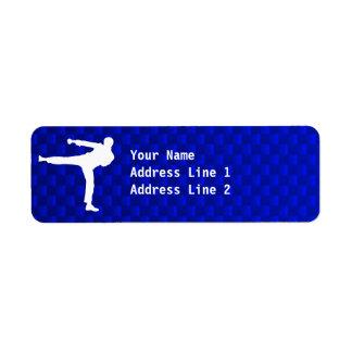 Blue Martial Arts Return Address Label