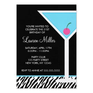 Blue Martini and Zebra Pattern 5x7 Paper Invitation Card