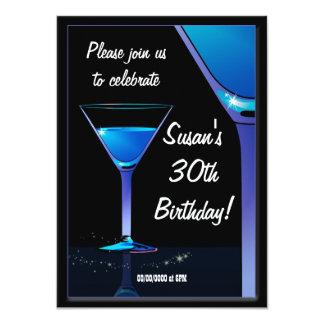 "Blue Martini Cocktail Birthday Party 4.5"" X 6.25"" Invitation Card"