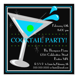 Blue Martini Cocktail Party Invitation