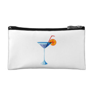 Blue martini glass red straw orange graphic png cosmetic bags