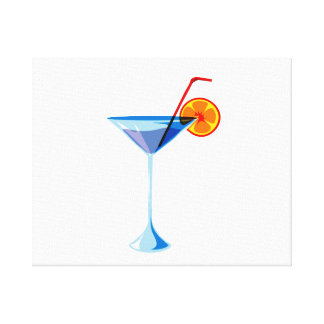 Blue martini glass red straw orange graphic.png canvas print