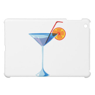 Blue martini glass red straw orange graphic.png case for the iPad mini