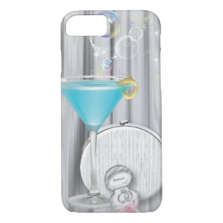 blue martini glasses modern party girl glamorous iPhone 8/7 case