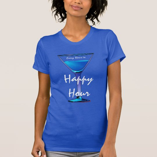 Blue Martini Happy Hour Cocktail Ladies Blue T-Shirt