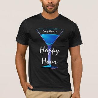 Blue Martini Happy Hour Cocktail Mens Black T-Shirt