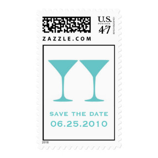 Blue martini save the date wedding postage