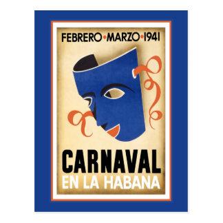 Blue Mask for Carnaval Postcard