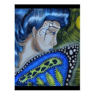 Blue Masked Fairy Full Moon Postcard