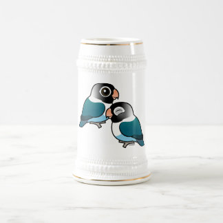Blue Masked Lovebird Adorable Pair Beer Stein