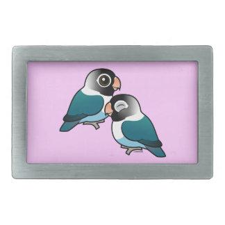 Blue Masked Lovebird Adorable Pair Rectangular Belt Buckle