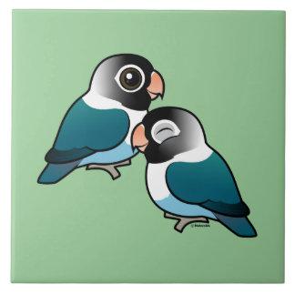 Blue Masked Lovebird Adorable Pair Ceramic Tile