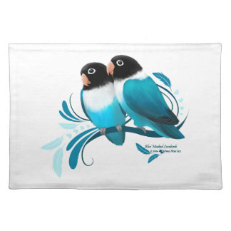 Blue Masked Lovebirds Cloth Placemat