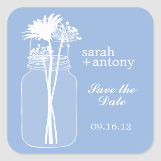 Blue Mason Jar and Flowers Wedding Square Sticker