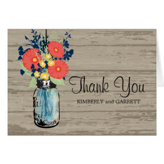 Blue Mason Jar and Gerber Daisies Card