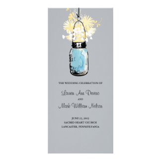 Blue Mason Jar and Wildflowers Program Custom Rack Cards