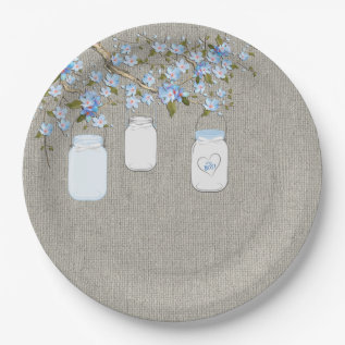 Blue Mason Jar Burlap Boys Baby Shower Paper Plate at Zazzle