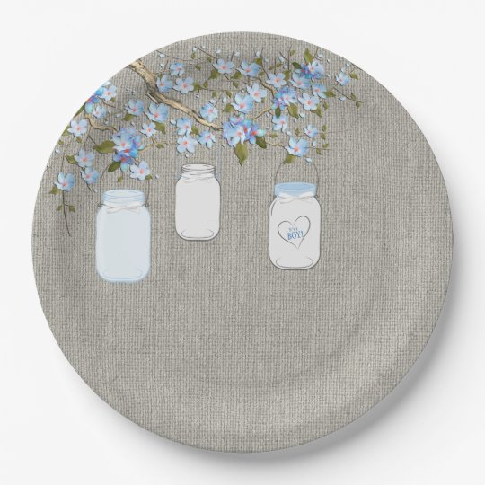 Blue Mason Jar Burlap Boys Baby Shower Paper Plate Zazzlecom