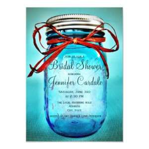 Blue Mason Jar Country Bridal Shower Invitations Announcement