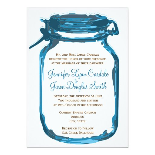 blue mason jar country rustic wedding invitations zazzle. Black Bedroom Furniture Sets. Home Design Ideas