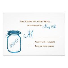 Blue Mason Jar Country Rustic Wedding RSVP Cards