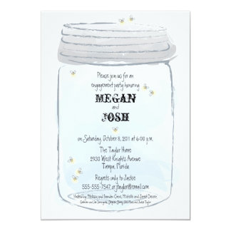 Blue Mason Jar & Fireflies Engagement Party Card
