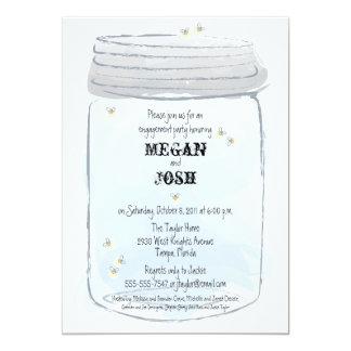 Blue Mason Jar & Fireflies Engagement Party Card