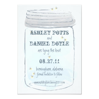 Blue Mason Jar & Fireflies Save the Date 5x7 Paper Invitation Card