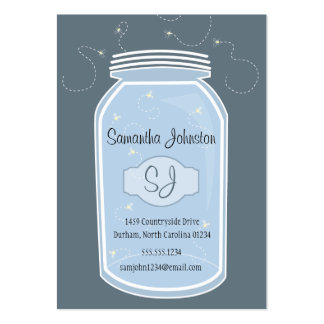 Blue Mason Jar & Fireflies Save the Date Large Business Cards (Pack Of 100)