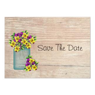Blue Mason Jar Pansies Save The Date Card