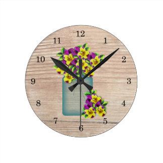 Blue Mason Jar Pansies Wall Clock