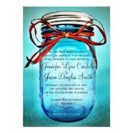 Blue Mason Jar Rustic Country Wedding Invitations Custom Invite
