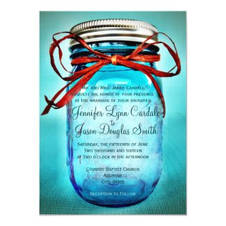 Blue Mason Jar Rustic Country Wedding Invitations 4.5