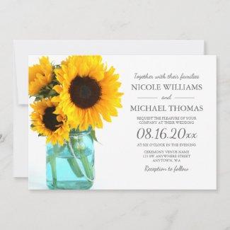 Sunflower Mason Jar Wedding Theme Invitions