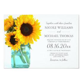 Blue Mason Jar Sunflowers Wedding Invitations