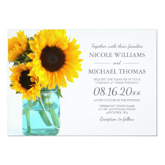 Blue Mason Jar Sunflowers Wedding Invitations