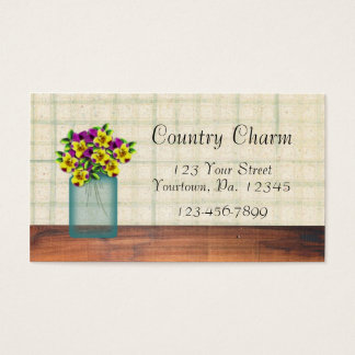 Blue Mason Jar Violas Business Card