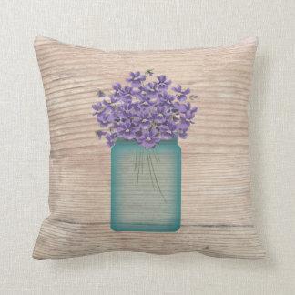 Blue Mason Jar Violets Pillow