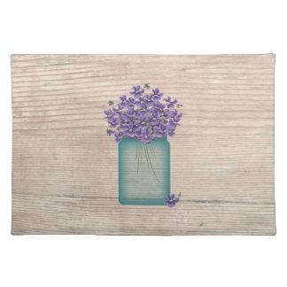 Blue Mason Jar Violets Placemat